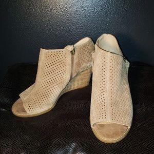 Lucky Brand peep toe wedge booties